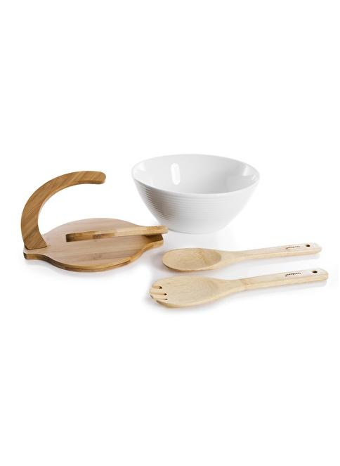 Bambum Bowlen - 4 Prç Salata Servis Seti Renkli